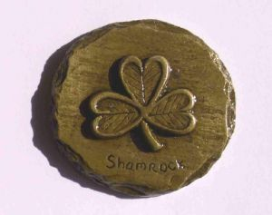 Irish shamrock fridge magnet brass finish